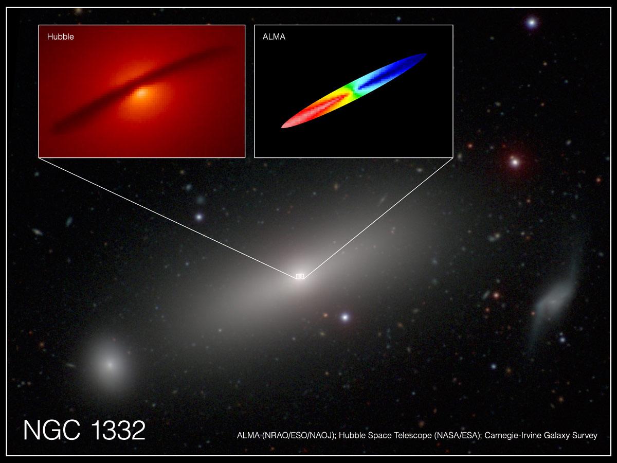 Imagen combinada de NGC 1332 donde se aprecia el disco de gas que rodea el agujero negro supermasivo en el centro de la galaxia.