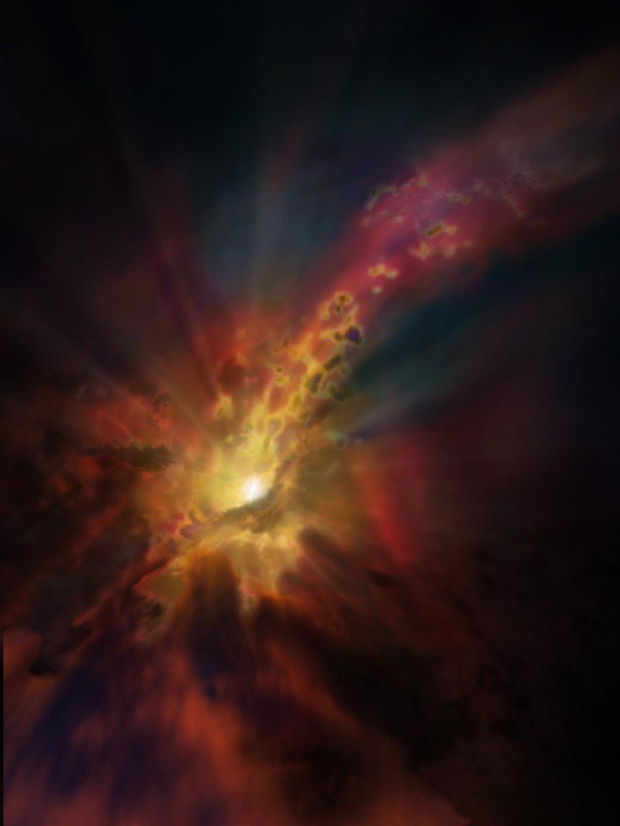 Esta representación artística muestra nubes condensadas de gas molecular frío alrededor de la galaxia más brillante del cúmulo Abell 2597.