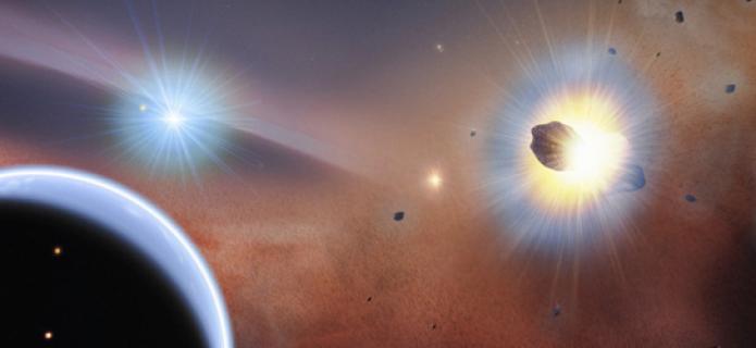 Choque de cometas explica la sorprendente presencia de aglomeraciones de gas descubiertas por ALMA