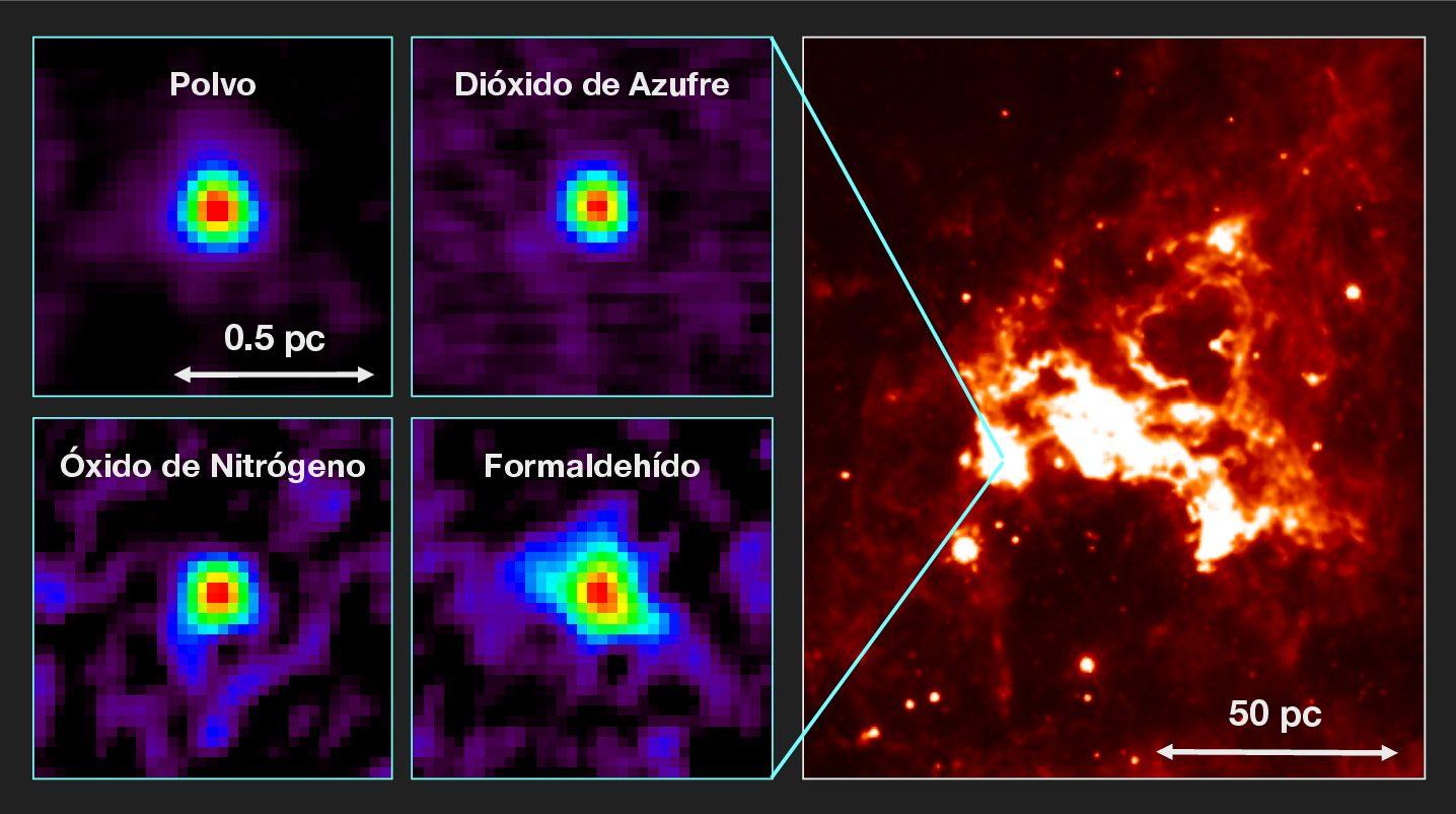 Núcleo molecular caliente en la Gran Nube de Magallanes 2