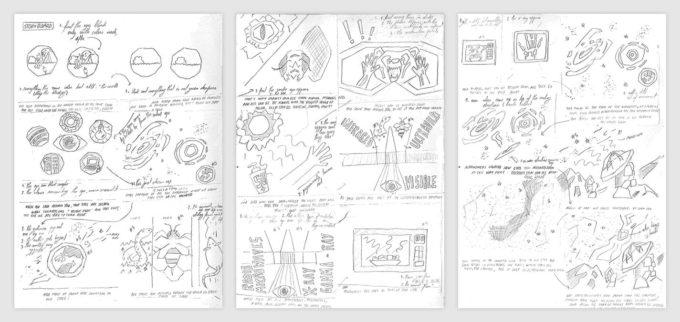 Estos storyboards fueron parte del proceso creativo de la serie. Crédito: María Corrêa-Mendes - ALMA (ESO/NAOJ/NRAO)