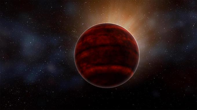 Impresión artística de una enana roja como Próxima Centauri, la estrella más cercana a nuestro Sol. Nuevos análisis de observaciones de ALMA revelaron una potente erupción emitida por Próxima Centauri que haría que las condiciones del sistema sean inhabitables. Crédito: NRAO/AUI/NSF; D. Berry