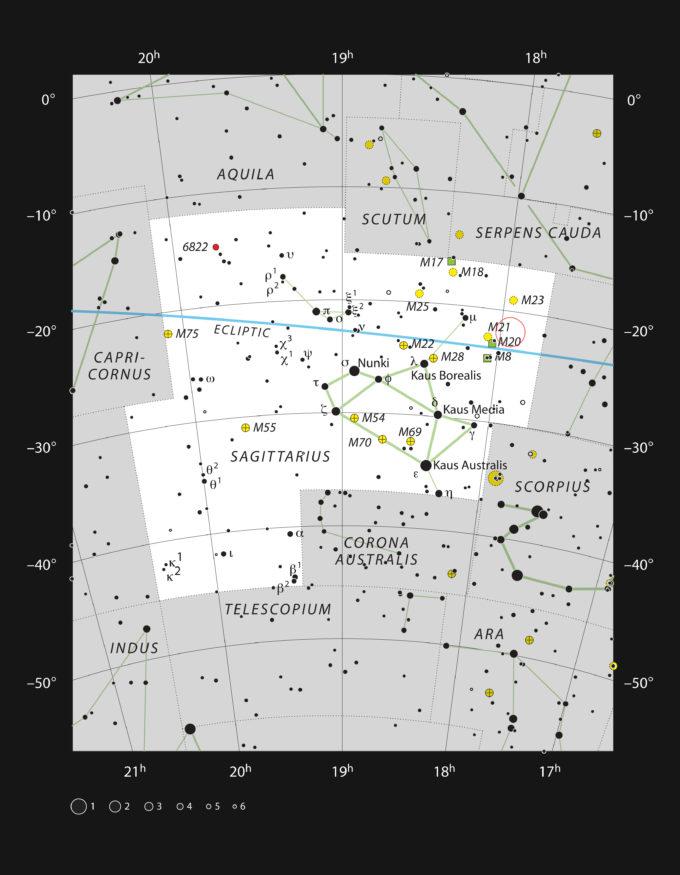 Este gráfico muestra la rica constelación de Sagitario (el arquero) y marca la posición de la estrella HD 163296. Esta estrella tiene dos veces la masa del sol, pero solo tiene 4 millones de años. Es demasiado débil para verla a ojo desnudo, pero puede observarse fácilmente con binoculares, y no se encuentra lejos de las famosas nebulosa Trífida y nebulosa de la Laguna. Crédito: ESO, IAU and Sky & Telescope