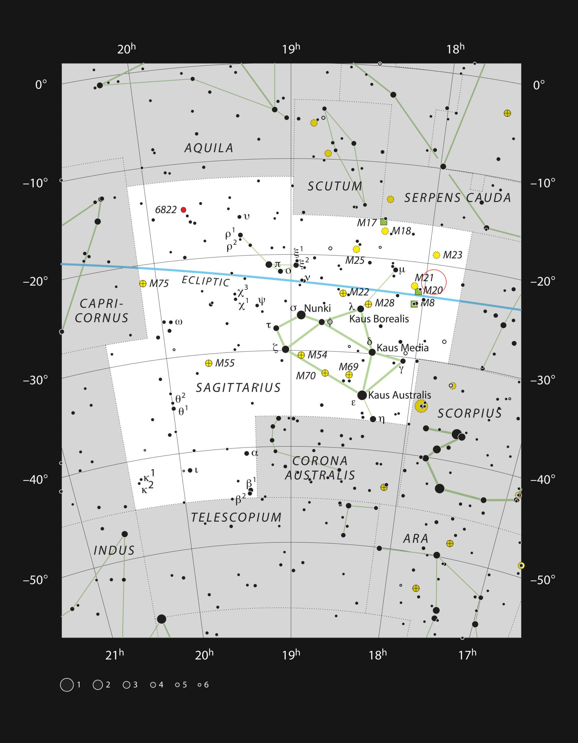 Este gráfico la rica constelación de Sagitario (el arquero)