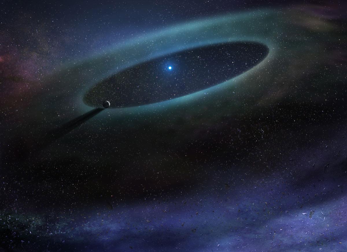 Representación artística de un disco de residuos que rodea una estrella en la Asociación Escorpio-Centauro.