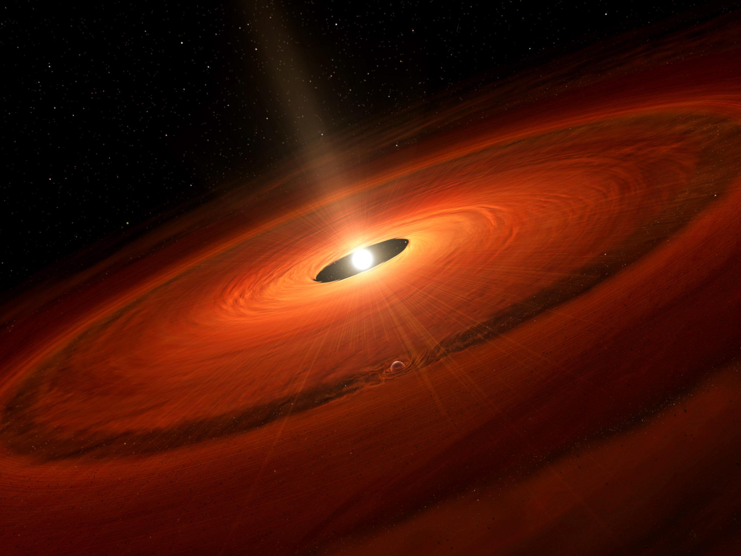 Representación artística del disco de polvo y de un planeta en formación alrededor de TW Hydrae.
