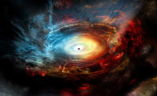Representación artística del corazón de la galaxia NGC 1068