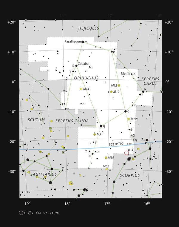 Este mapa muestra la ubicación de la región de formación estelar Rho Ophiuchi en la constelación de Ofiuco (El Portador de la Serpiente).
