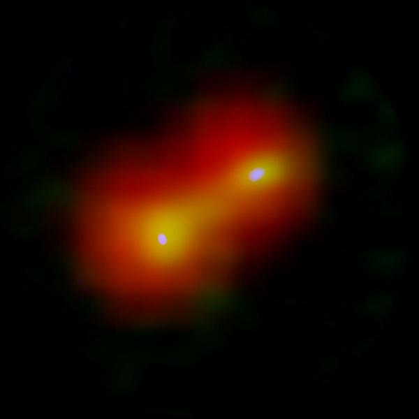 Imagen compuesta del sistema estelar binario recién nacido IRAS 04191+1523.