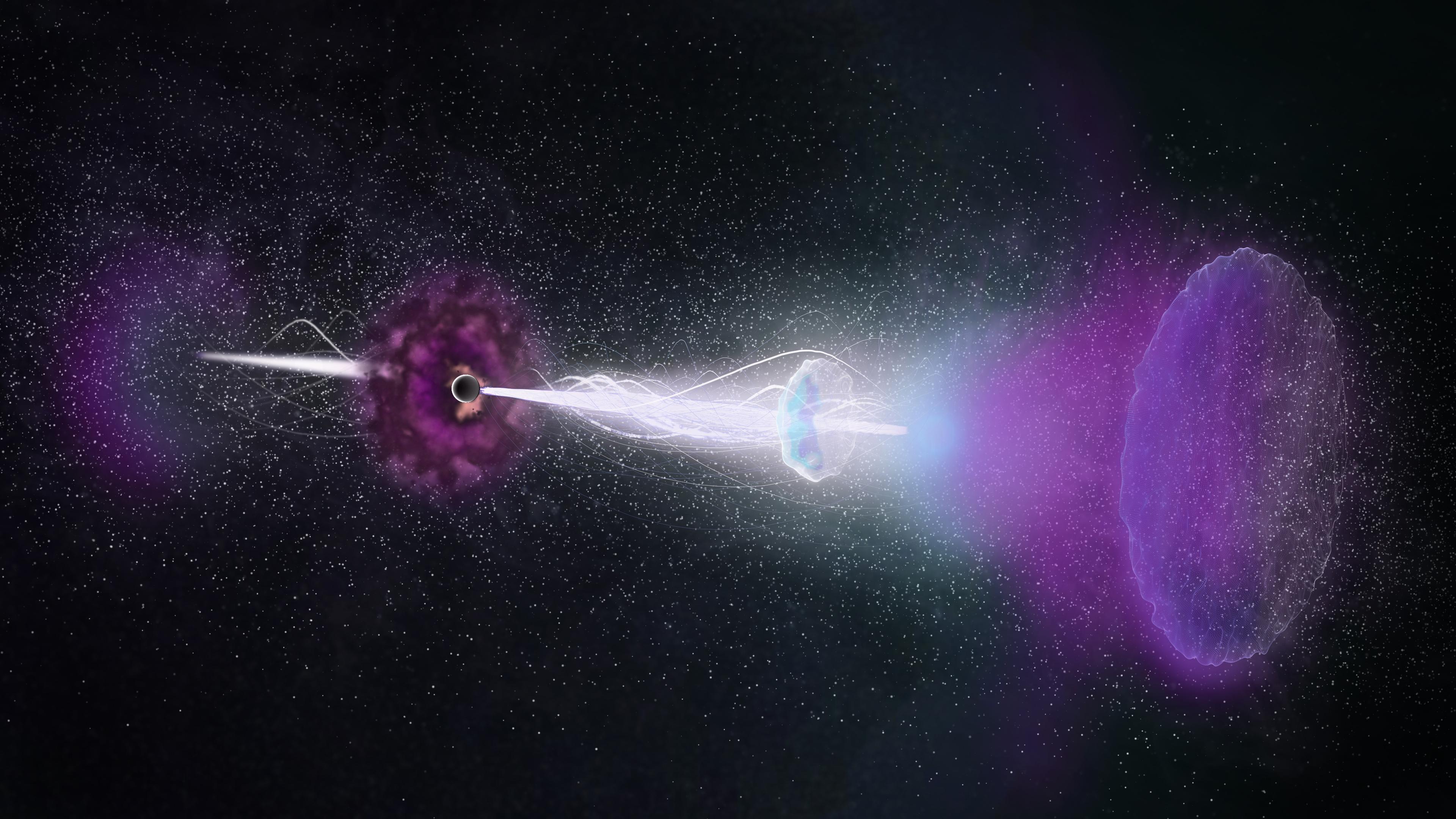 Impresión artística de la onda de choque inversa regresando como un eco a sus potentes chorros de destello de rayos gamma (GRB 161219B). Créditos: NRAO/AUI/NSF, S. Dagnello