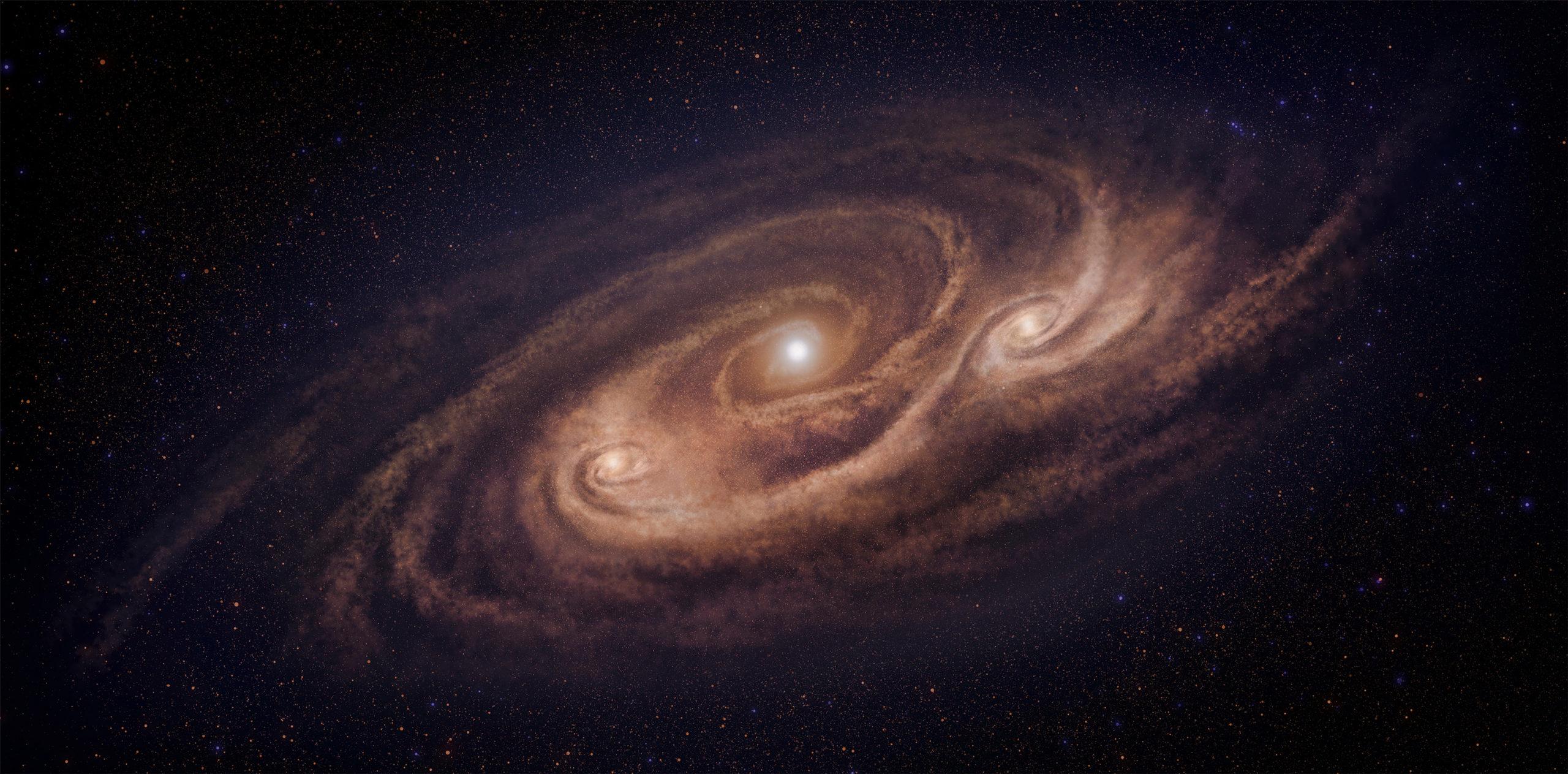 Representación artística de la galaxia monstruosa COSMOS-AzTEC-1