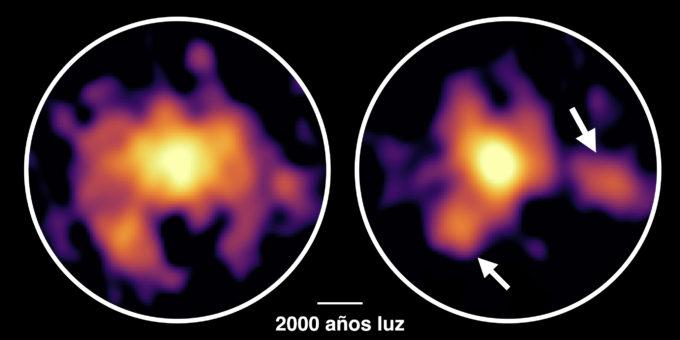 La galaxia monstruosa COSMOS-AzTEC-1 observada con ALMA. ALMA reveló la distribución del gas molecular (izquierda) y de las partículas de polvo (derecha). Además de la densa nube en el centro, el equipo de investigación detectó dos espesas nubes a varios miles de años luz del centro. Son nubes dinámicamente inestables, y se cree que albergan una intensa actividad de formación estelar. Créditos: ALMA (ESO/NAOJ/NRAO), Tadaki et al.