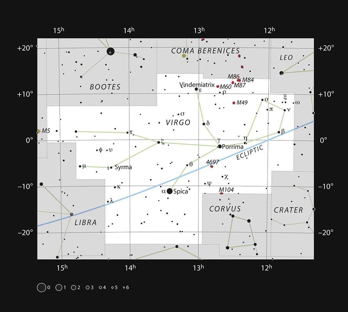 Esta gráfica muestra la posición de la galaxia gigante Messier 87 en la constelación de Virgo (La Virgen). El mapa muestra la mayoría de las estrellas visibles a simple vista en buenas condiciones. Crédito: ESO, IAU y Sky & Telescope
