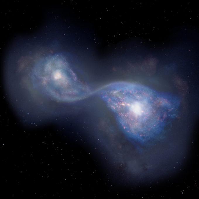 Representación artística de las galaxias en colisión B14-65666, a 13.000 millones de años luz. Créditos: NAOJ.