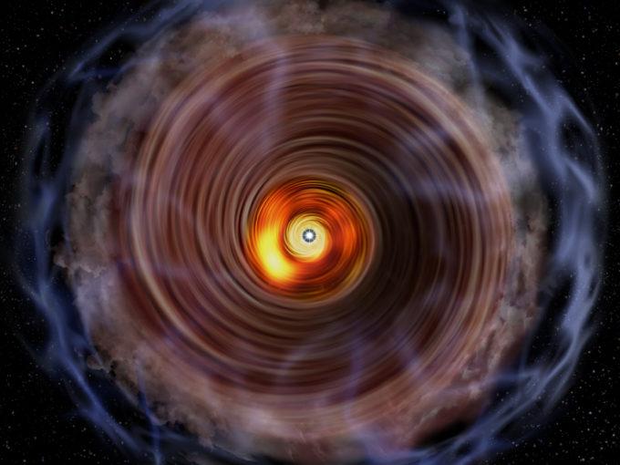 Representación artística del disco de gas y de la bolsa de gas que rodea la protoestrella masiva G353.273+0.641. Créditos: NAOJ