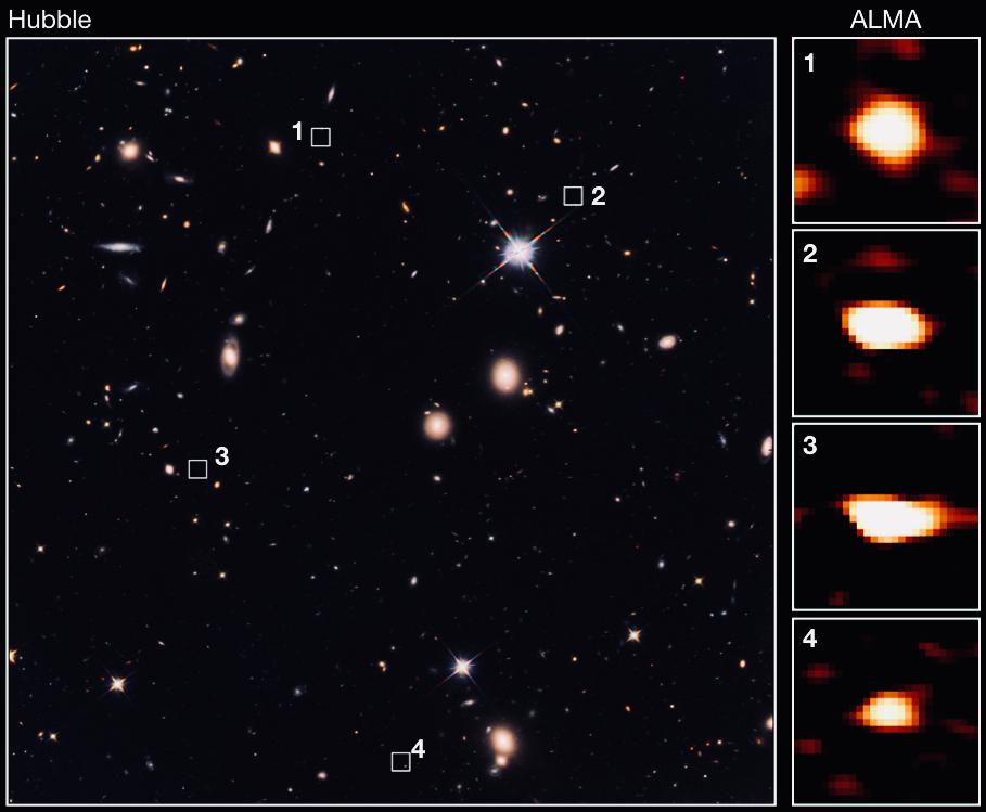 ALMA identifica antepasados oscuros de galaxias elípticas masivas