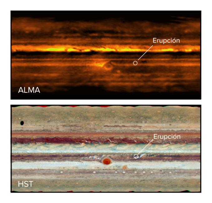 Proyección plana de Júpiter en ondas de radio tomadas con ALMA (arriba) y en visible con el telescopio espacial Hubble (abajo). En ambas imágenes de puede apreciar la erupción en el cinturón sur-ecuatorial. Crédito: ALMA (ESO/NAOJ/NRAO), I. de Pater et al.; NRAO/AUI NSF, S. Dagnello; NASA/Hubble