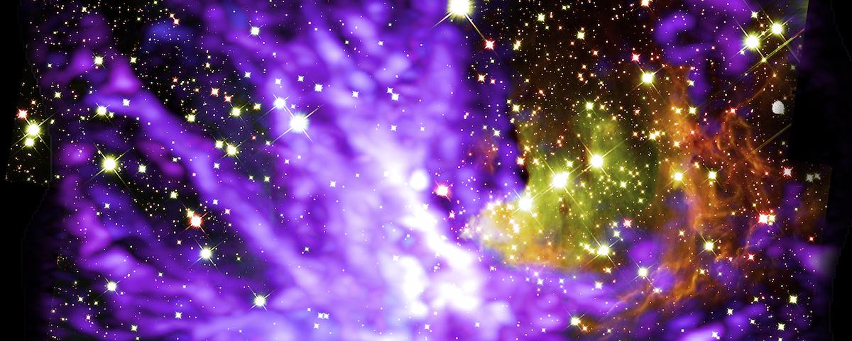 Fuegos artificiales cósmicos celebran el nacimiento de cúmulo gigante