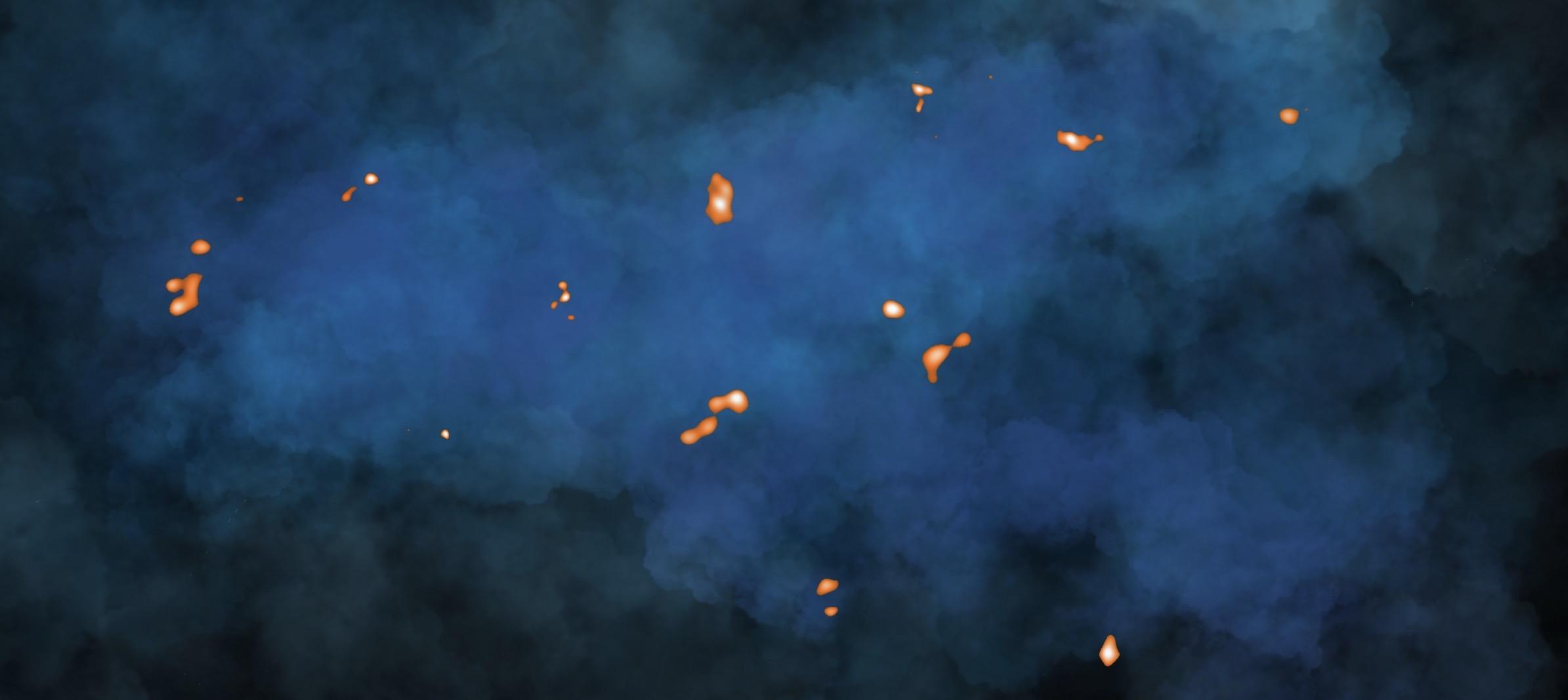 Representación artística de una nube de gas con núcleos calientes observados por ALMA. Crédito: N. Lira - ALMA (NRAO/NAOJ/ESO)