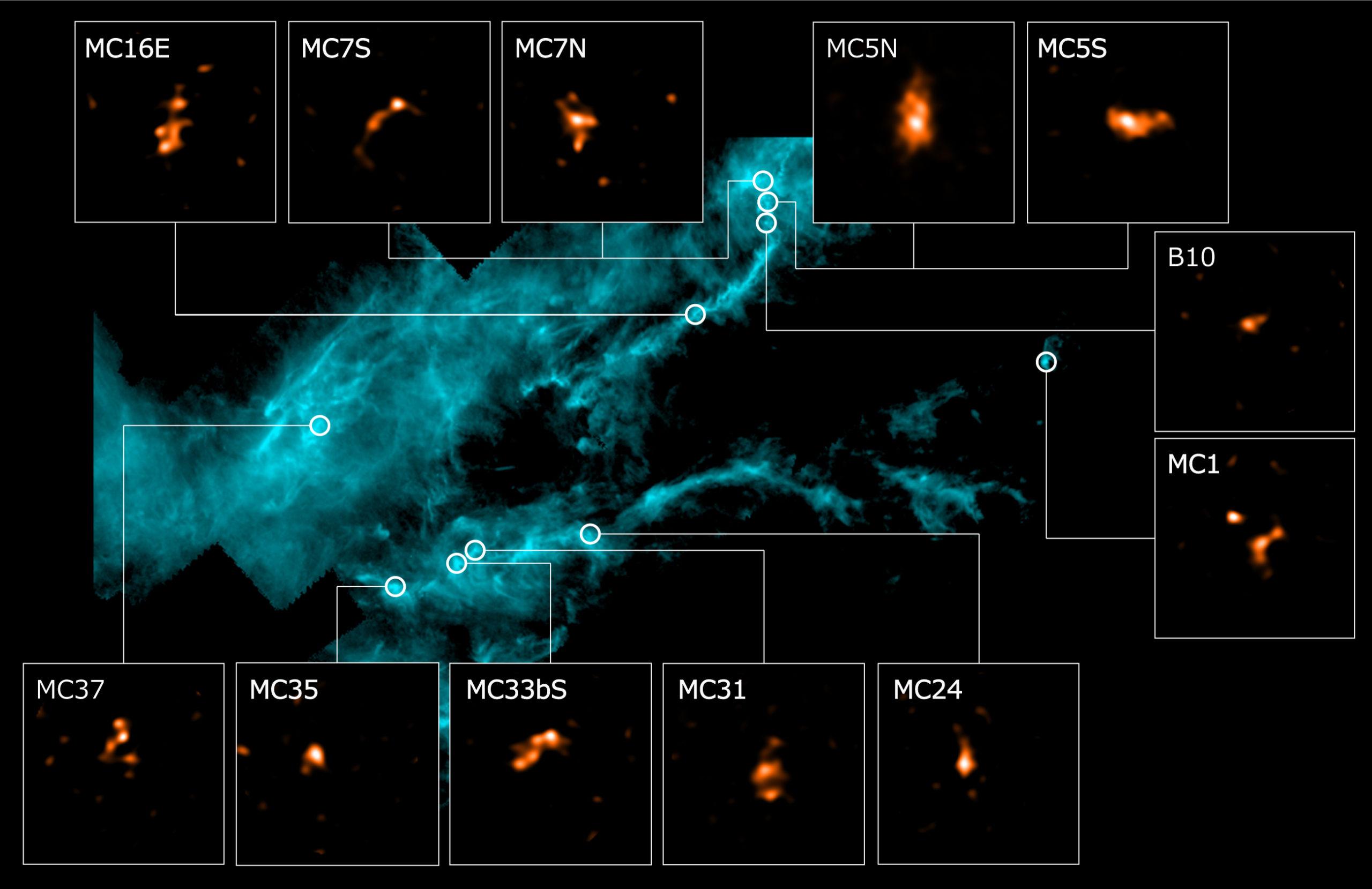 Imagen infrarroja de campo amplio de la nube molecular de Tauro obtenida por el Observatorio Espacial Herschel y embriones estelares observados con ALMA (recuadros). Créditos: ALMA (ESO/NAOJ/NRAO), Tokuda et al., ESA/Herschel