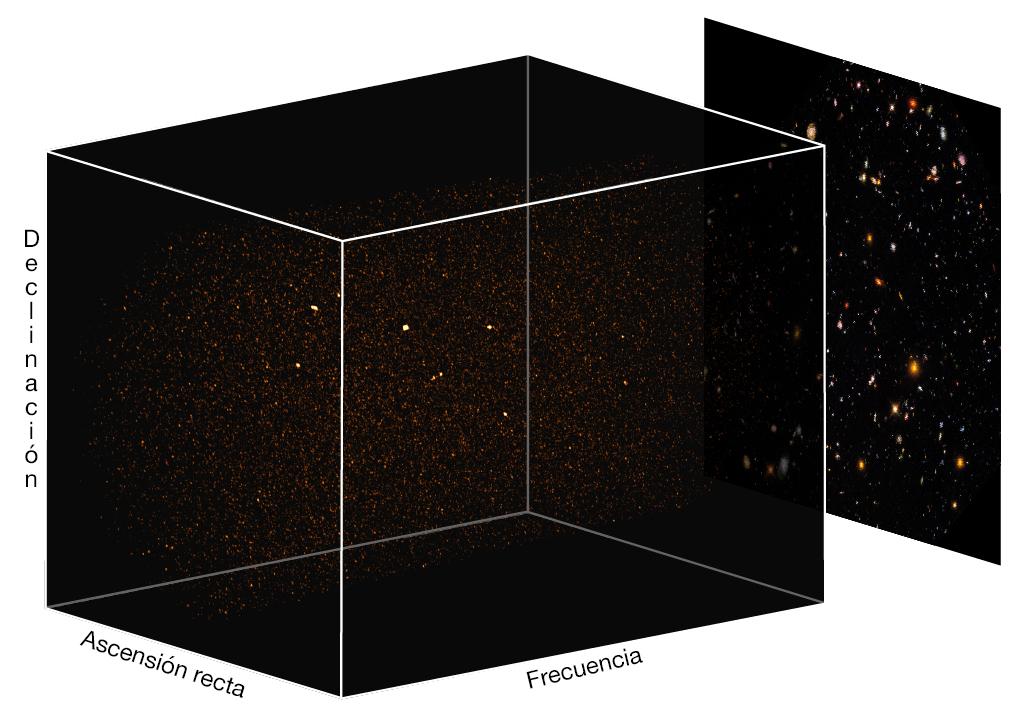 Render en 3D del cubo de datos de ASPECS en Banda 3 sobre fondo de Hubble UDF. Aparecen fuertes emisores de gas molecular frío como puntos brillantes en los cubos. Las características lineales corresponden a fuentes continuas de polvo brillante. Crédito: Decarli et al