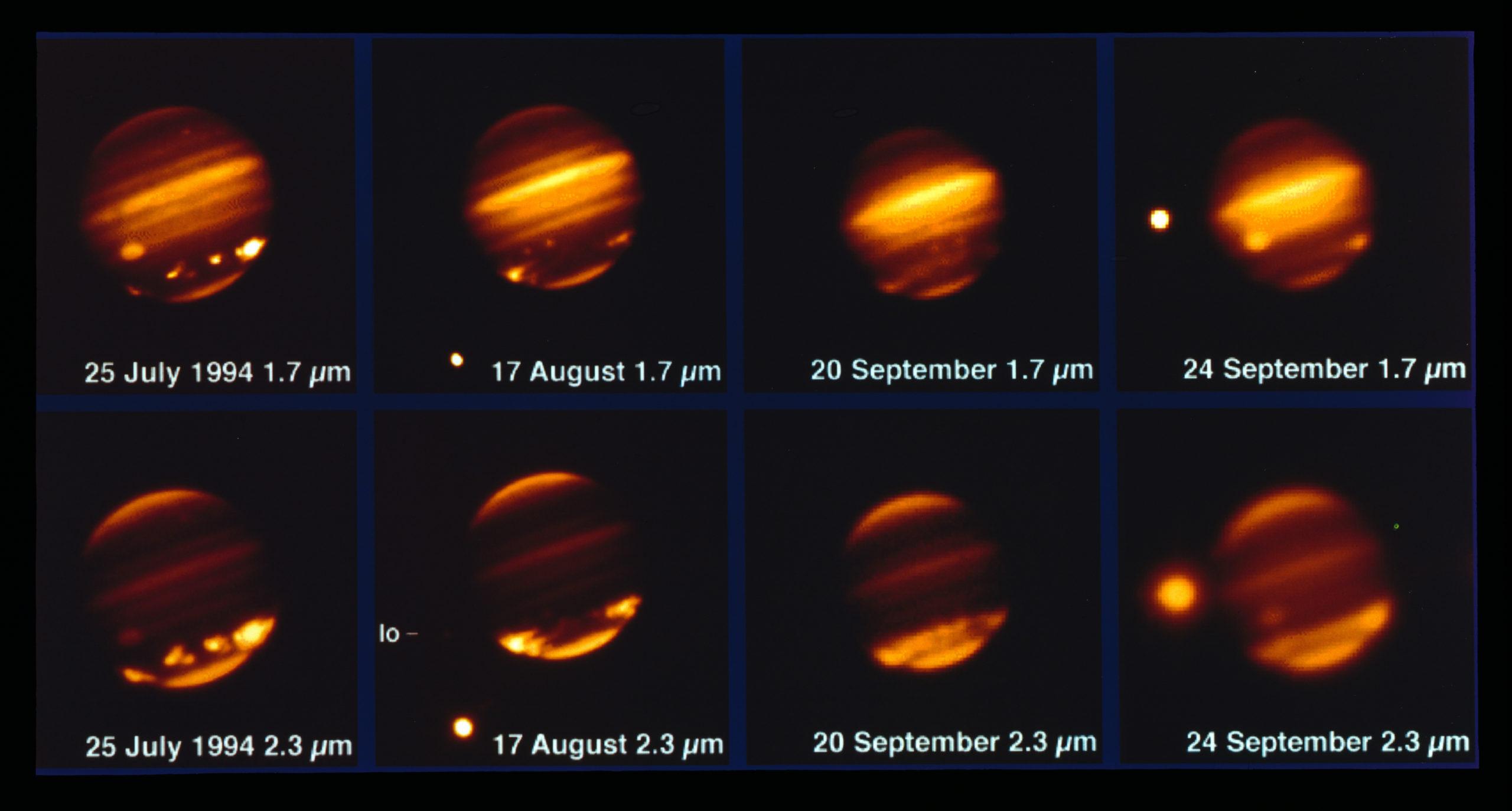Esta imagen, tomada con el telescopio MPG/ESO de 2,2 metros y el instrumento IRAC, muestra al cometa Shoemaker Levy 9 impactando sobre Júpiter en julio de 1994. Crédito: ESO