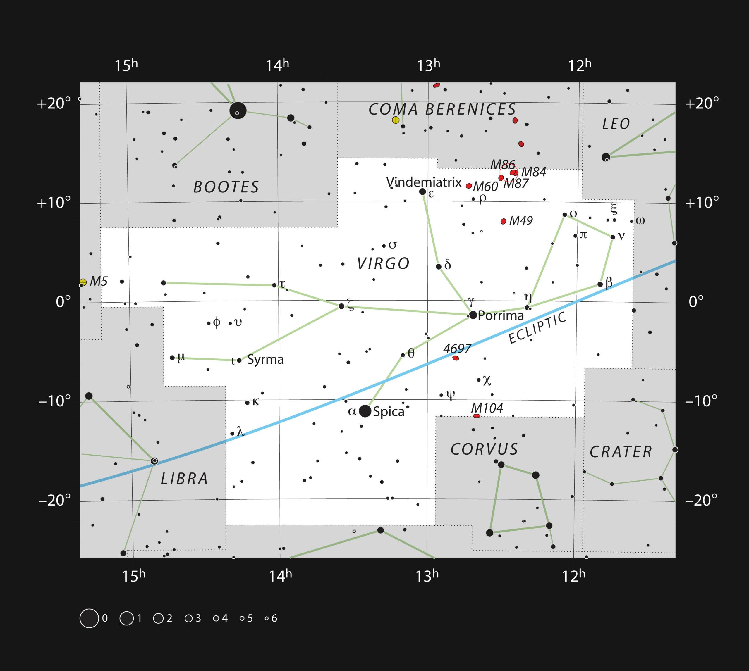 Este gráfico muestra la posición de la galaxia gigante Messier 87 en la constelación de Virgo (La Virgen). El mapa muestra la mayoría de las estrellas visibles a simple vista bajo buenas condiciones de observación. Crédito: ESO, IAU and Sky & Telescope