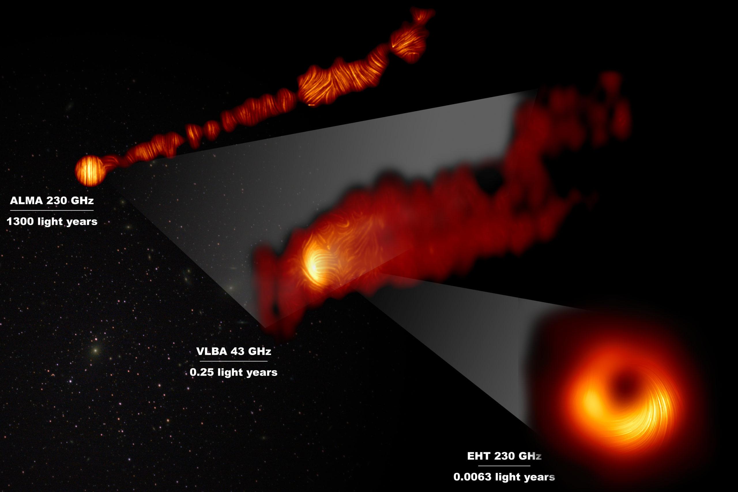 Esta composición muestra tres vistas de la región central de la galaxia Messier 87 (M87) en luz polarizada. La galaxia tiene un agujero negro supermasivo en su centro y es famosa por sus chorros, que se extienden mucho más allá de la galaxia.  Una de las imágenes de luz polarizada, obtenida con el conjunto de antenas de ALMA, muestra parte del chorro en luz polarizada. Esta imagen capta la parte del chorro, con un tamaño de 6000 años luz, que está más cerca del centro de la galaxia.  Las otras imágenes en luz polarizada se acercan al agujero negro supermasivo: la vista central cubre una región de aproximadamente un año luz de tamaño y se obtuvo con el VLBA (Very Long Baseline Array) del Observatorio Nacional de Radioastronomía, en los Estados Unidos.  La vista más ampliada se obtuvo mediante la vinculación de ocho telescopios de todo el mundo para crear un telescopio virtual del tamaño de la Tierra, el EHT (Event Horizon Telescope, Telescopio de Horizonte de Sucesos). Esto permite a los astrónomos ver la zona que está muy cerca del agujero negro supermasivo, en la región donde se lanzan los chorros.  Las líneas marcan la orientación de la polarización, que está relacionada con el campo magnético en las regiones que vemos en la imagen. Los datos de ALMA proporcionan una descripción de la estructura del campo magnético a lo largo del chorro. Por lo tanto, la información combinada del EHT y ALMA permite a los astrónomos investigar el papel de los campos magnéticos desde las proximidades del horizonte de sucesos (como ha demostrado el EHT en escalas de día luz) mucho más allá de la galaxia M87 a lo largo de sus potentes chorros (como se ha visto con ALMA en escalas de miles de años luz).  Los valores en GHz se refieren a las frecuencias de luz en las que se realizaron las diferentes observaciones. Las líneas horizontales muestran la escala (en años luz) de cada una de las imágenes individuales. Crédito: EHT Collaboration; ALMA (ESO/NAOJ/NRAO), Goddi et al.; VLBA (NRAO),