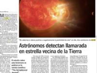 Astrónomos detectan llamarada en estrella vecina de la Tierra