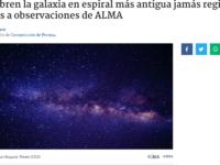 Descubren la galaxia en espiral más antigua jamás registrada gracias a observaciones de ALMA