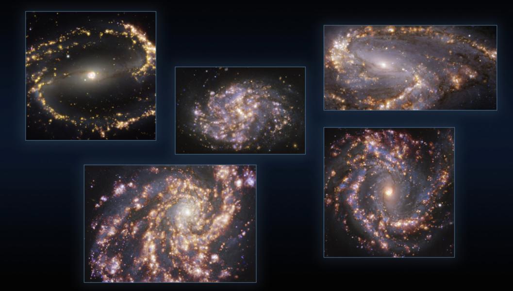 Fuegos artificiales galácticos: nuevas imágenes revelan impresionantes características de galaxias cercanas