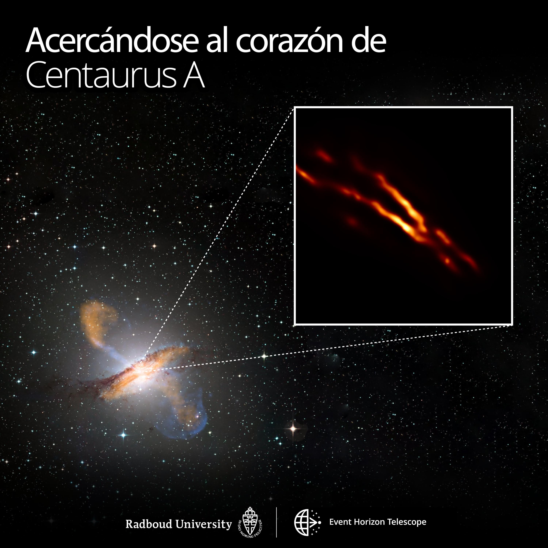 Imagen de mayor resolución de Centaurus A obtenida con el Event Horizon Telescope encima de una imagen de colores compuestos de toda la galaxia. Crédito: Universidad de Radboud; ESO/WFI; MPIfR/ESO/APEX/A. Weiss et al.; NASA/CXC/CfA/R. Kraft y col .; EHT/M. Janssen y col.